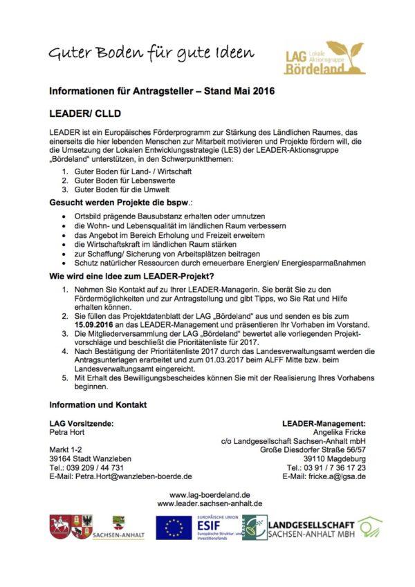 Informationsblatt für Antragsteller