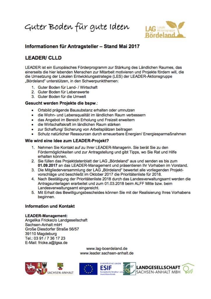 LAG Bördeland Informationen für Antragsteller Stand Mai 2017