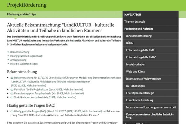 """Aktuelle Bekanntmachung: """"LandKULTUR - kulturelle Aktivitäten und Teilhabe in ländlichen Räumen"""""""