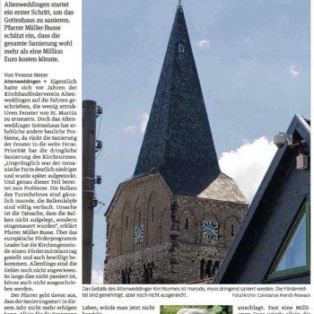 Die Balken vom Kirchturm sind völlig marode