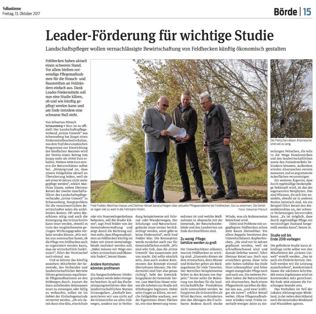 Leader-Förderung für wichtige Studie