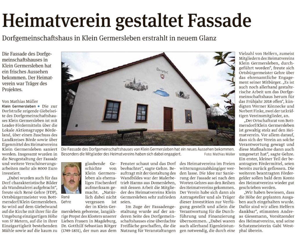 Dorsgemeinschaftshaus in Klein Germersleben erstrahlt in neuem Glanz Die Fassade des Dorfgemeinschaftshauses in Klein Germersleben hat ein frisches Aussehen bekommen. Der Heimatverein war Träger des Projektes.