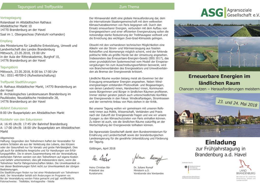 Erneuerbare Energien im ländlichen Raum Chancen nutzen – Herausforderungen meistern. Einladung zur Frühjahrstagung in Brandenburg a.d. Havel am 23. und 24. Mai 2018