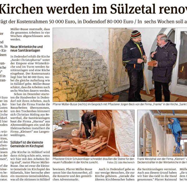 Zwei Kirchen werden im Sülzetal renoviert