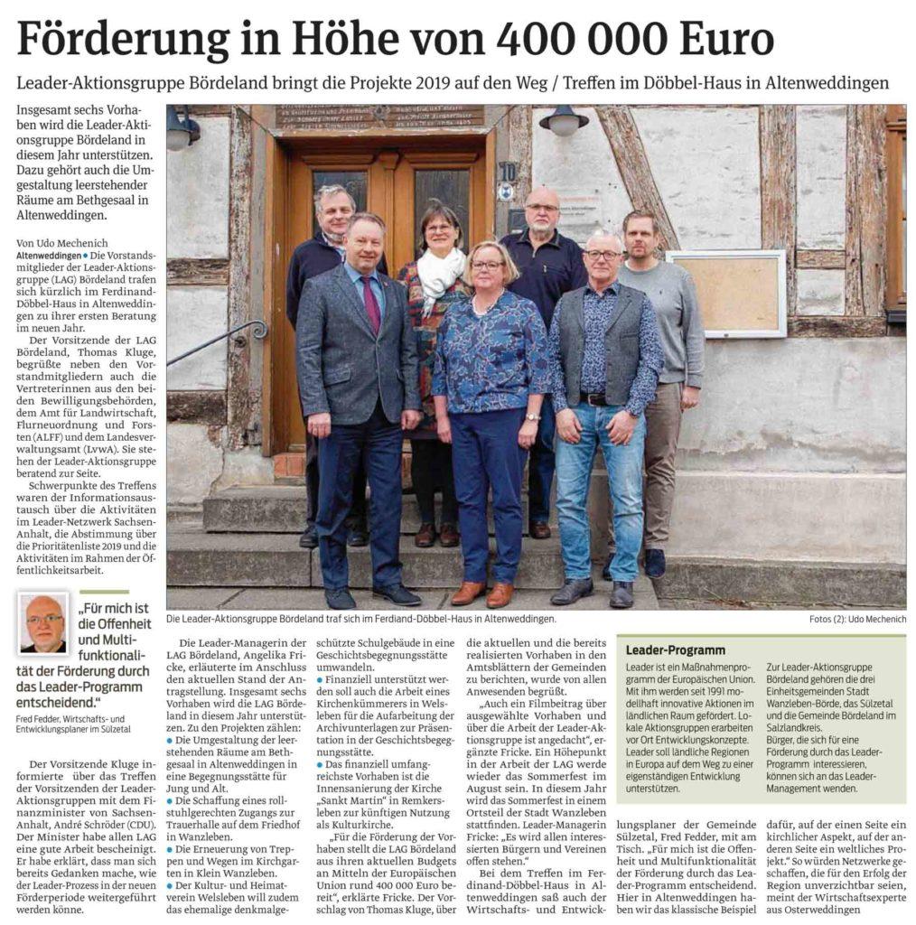 Förderung in Höhe von 400 000 Euro