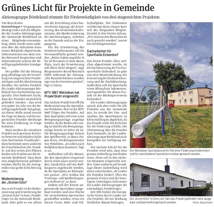 Grünes Licht für Projekte in Gemeinde