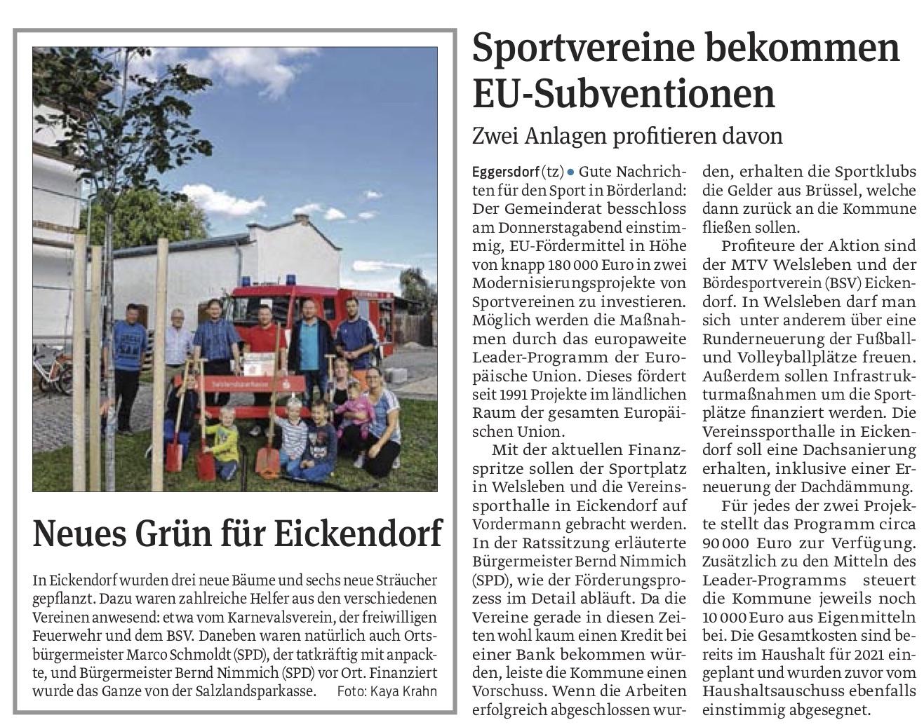 Sportvereine bekommen EU-Subventionen